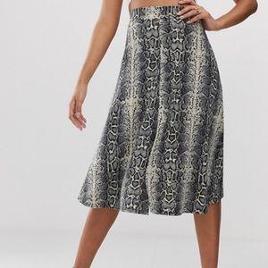 ASOS Boohoo Snake Print A Line Midi Skirt
